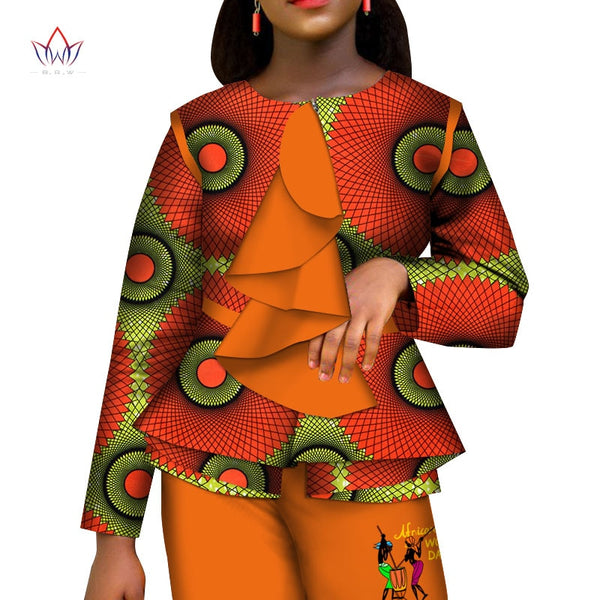 Casual African Women Clothes Print Tops and Pants Set Bazin Riche Traditional African Clothing 2 Pieces Pant Trousers Set WY4320
