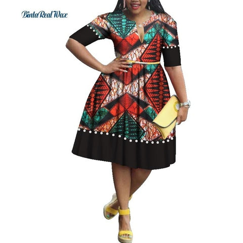 Casual Bazin Riche Imitation Pearls Patchwork Draped Dress African Print Dresses for Women Traditional African Clothing WY1718