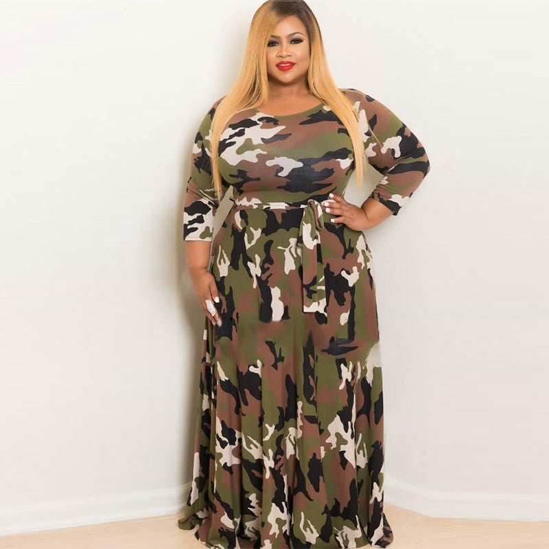 Casual Dress Plus Size Bodycon Dress Spring Loaded Fat Female 2018 New  Camouflage Floral Ladies Dresses Long Dress Camouflage