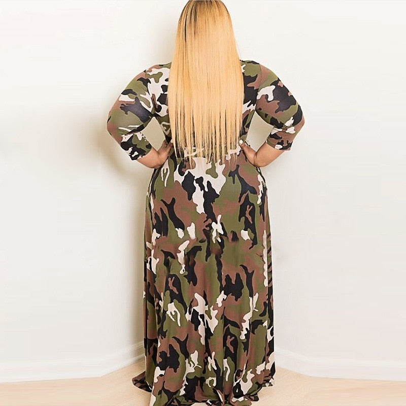 281e79b12da ... Casual Dress Plus Size Bodycon Dress Spring Loaded Fat Female 2018 New  Camouflage Floral Ladies Dresses ...