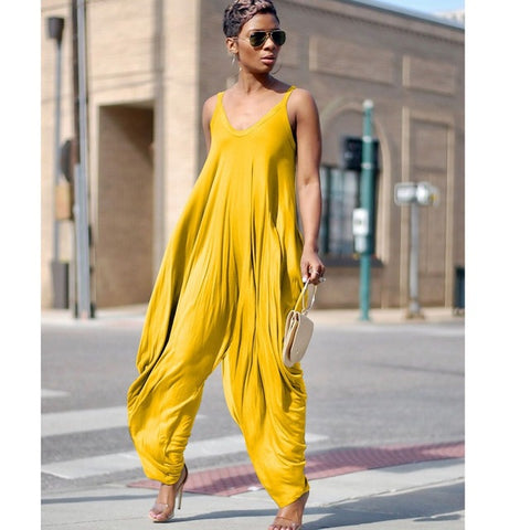Casual Loose Harem Jumpsuit mono mujer black Summer spring woman jumpsuit wide pant Women v neck sleeveless yellow jumpsuit