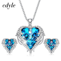 Cdyle Crystals from Swarovski Angel Wings Necklaces Earrings Purple Blue Crystal Heart Pendant Jewelry Set For Mothers Day Gift