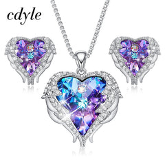 Image of Cdyle Crystals from Swarovski Angel Wings Necklaces Earrings Purple Blue Crystal Heart Pendant Jewelry Set For Mothers Day Gift