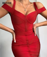 Celebrity Bandage Dresses 2019 New Arrivals Women Spaghetti Straps Black Bandage Dress Bodycon Evening Party Dress Club Red SO-7