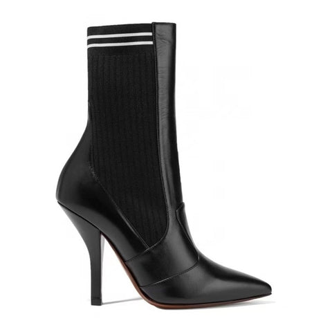 Celebrity Style Stretch Fabric and Leather Botas Pointed Toe Sock Boots Black Red Sexy Booties Stiletto High Heels Shoes Woman