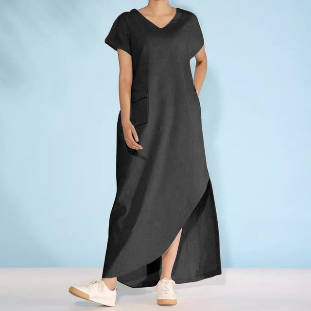 52a4c6e58aa47 Celmia Summer Boho Maxi Long Dress Women Casual Loose Summer Beach Dresses  Short Sleeve Sexy Split Vestidos Femme 2019 Plus Size