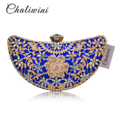 Chaliwini Classic Women Clutch Evening Bag Hollow Out Metal Wedding Sequined Shoulder Bag Prom Bridal Crystal Handbag Purses