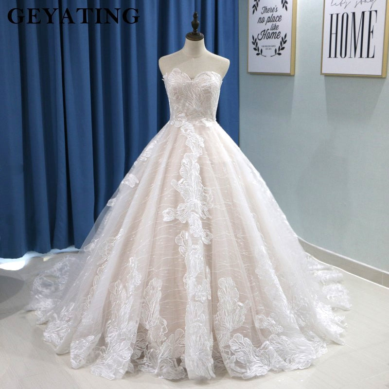 Western Wedding Dresses.Champagne Lace Off Shoulder Wedding Dress With Train Lace Up Sweetheart Ball Gown Country Western Bridal Gowns Free Shipping