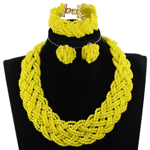 Charms Yellow Crystal Beaded Chunky African Jewelry Set Handmade Braid Costume Fashion Jewelry Set Gift WE180
