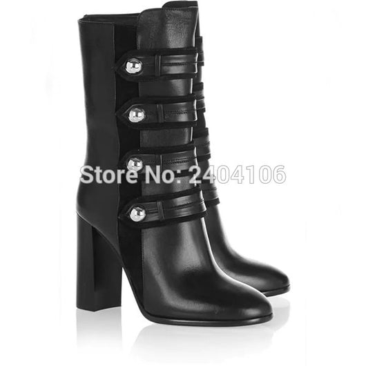 Chaussure Femme 2018 Block High Heels Arnie Buttoned Zip Boots Women Autumn Shoes Short Riding Booties Black Leather Ankle Boots