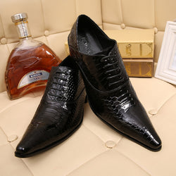 Italian Alligator Shoes For Men	 Genuine Leather Mens Shoes High Heels Pointed Toe Classic Italian Shoes Brands Oxford