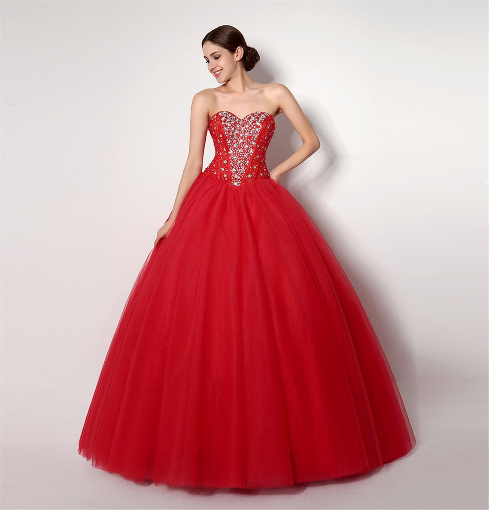 eb2f1a400f6 Cheap Red Quinceanera Dresses Sweetheart Beaded Crystal Tulle Vestidos De  15 Anos Ball Gown Sweet 16. Hover to zoom