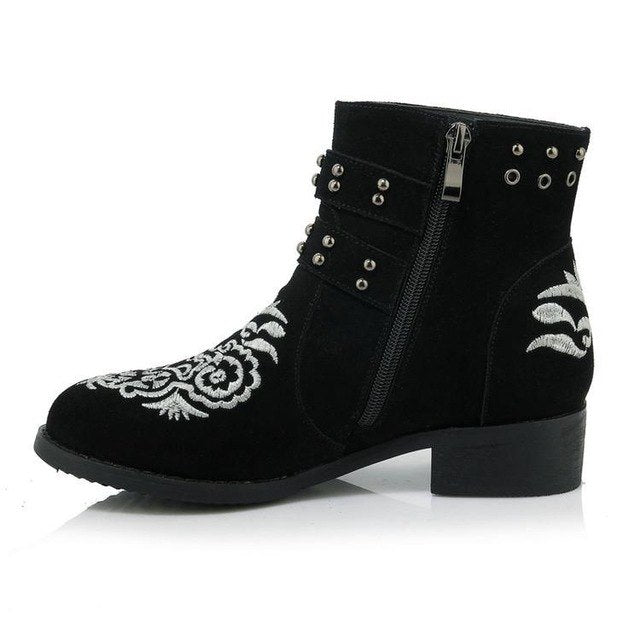 dbd6bd112 Chic Embroider Flowers Black Suede Ankle Boots For Women Round Toe Chunky  Heel Ladies Booties Studded. Hover to zoom
