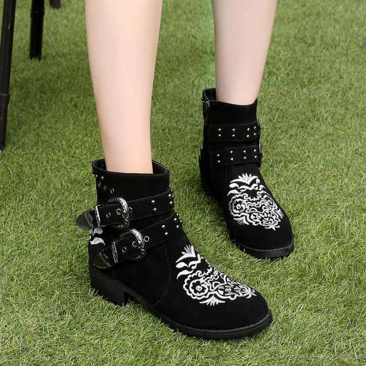5b6c6c793 Hover to zoom · Chic Embroider Flowers Black Suede Ankle Boots For Women  Round Toe Chunky Heel Ladies Booties Studded