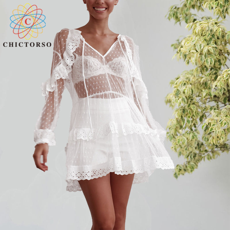 2a12d8ce1 Chictorso White Lace Dress Women Sexy See Through Mesh Lantern Long Sleeve Beach  Dress Summer Elegant. Hover to zoom