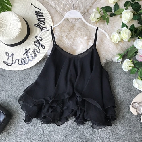 6ef4e649ae4342 Hover to zoom · Chiffon Blouse Women's Suspender Summer New Lotus Edge  Loose Off Shoulder Double Layer Top Sleeveless Shirt