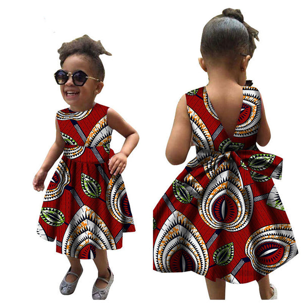 Children Summer African Dresses for Women Girl Kids 2020 News Bazin Dashiki Traditional Floral Print Vintage African Clothes
