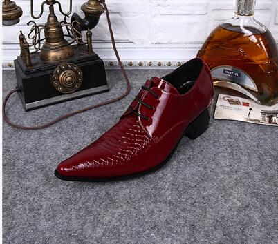 4ae4dc1881 Choudory Red Handmade Patent Leather Mens Designer Dress Shoes Pointed Toe  Lace Up Oxford High Heels Burgundy Shoes