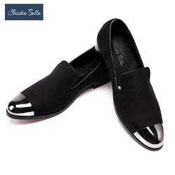 Christia Bella British Style Men Dress Shoes Men Velvet Loafers Party Shoes Smoking Slippers Driving moccasins Plus Size 38-47