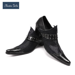 Christia Bella Genuine Leather Men Oxfords Black Business Men Formal Shoes Buckle Wedding Shoes Men Dress Shoes Plus Size 38-47