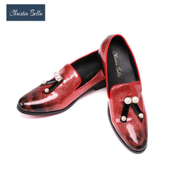 Christia Bella Glossy Pattern Leather Men Loafers with Pearl Bow Fashion Business Style wedding and Party Dress Shoes Men Flats