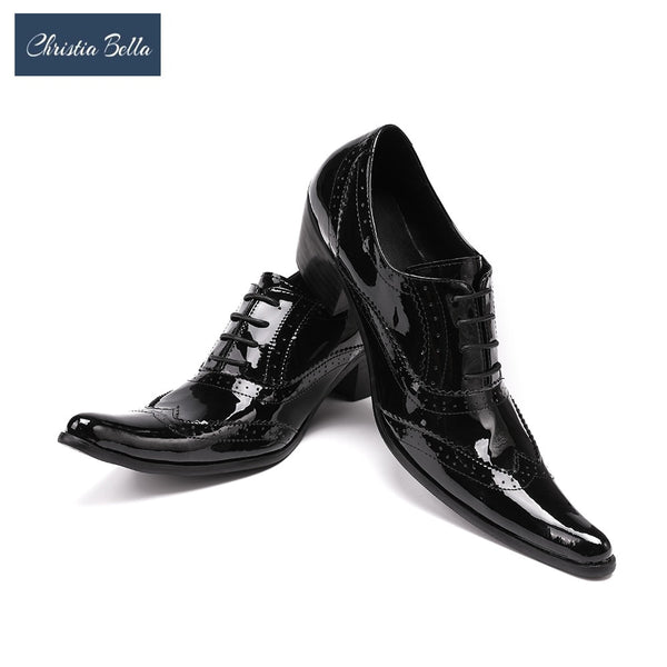 Christia Bella High Heel Dress Shoes Rock Punk Fashion Genuine Leather Business Style Nightclub Shoes Social Sapatos Plus Size