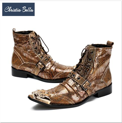 ... Christia Bella Italian Men Ankle Boots Metal Pointed Toe Men Short  Boots Genuine Leather Gold Lace f47b52d0c371