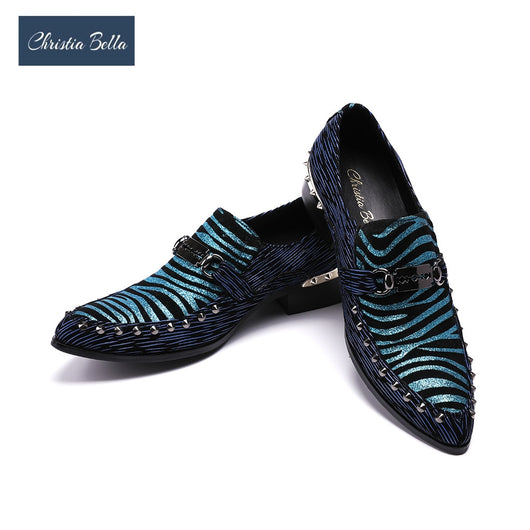 Christia Bella Luxury Fashion Blue Striped Mens Loafers Genuine Leather Metallic Slip On Classic Oxford Shoes for Men Flats
