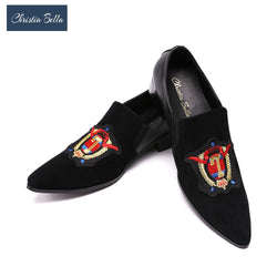 Christia Bella Luxury Fashion Exquisite Embroidered Smoking Slippers Slip On Mens Loafers Black Party Wedding Shoes Men's Flats