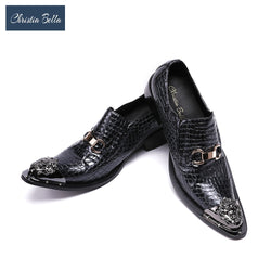 Christia Bella Men Dress Shoes Leather Gentleman Party Business Classic Suit Shoes Metal Tip Wedding Party Shoes with Buckle
