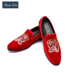 Christia Bella Men's Customized Shoes Exquisite Embroidery Leather Loafers Party Shoes Zapatos Mujer Espadrilles Men Falts Shoes