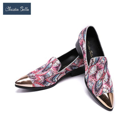 Christia Bella Men's Fashion Colorful Design Loafers Shoes Men Genuine Leather Nightclub Party Shoes Christmas Gifts Men's Flats