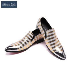Christia Bella Mens Brand Genuine Leather Dress Shoes Fashion Casual Zebra Stripes Slip On Shoes Men British Style Club Shoes