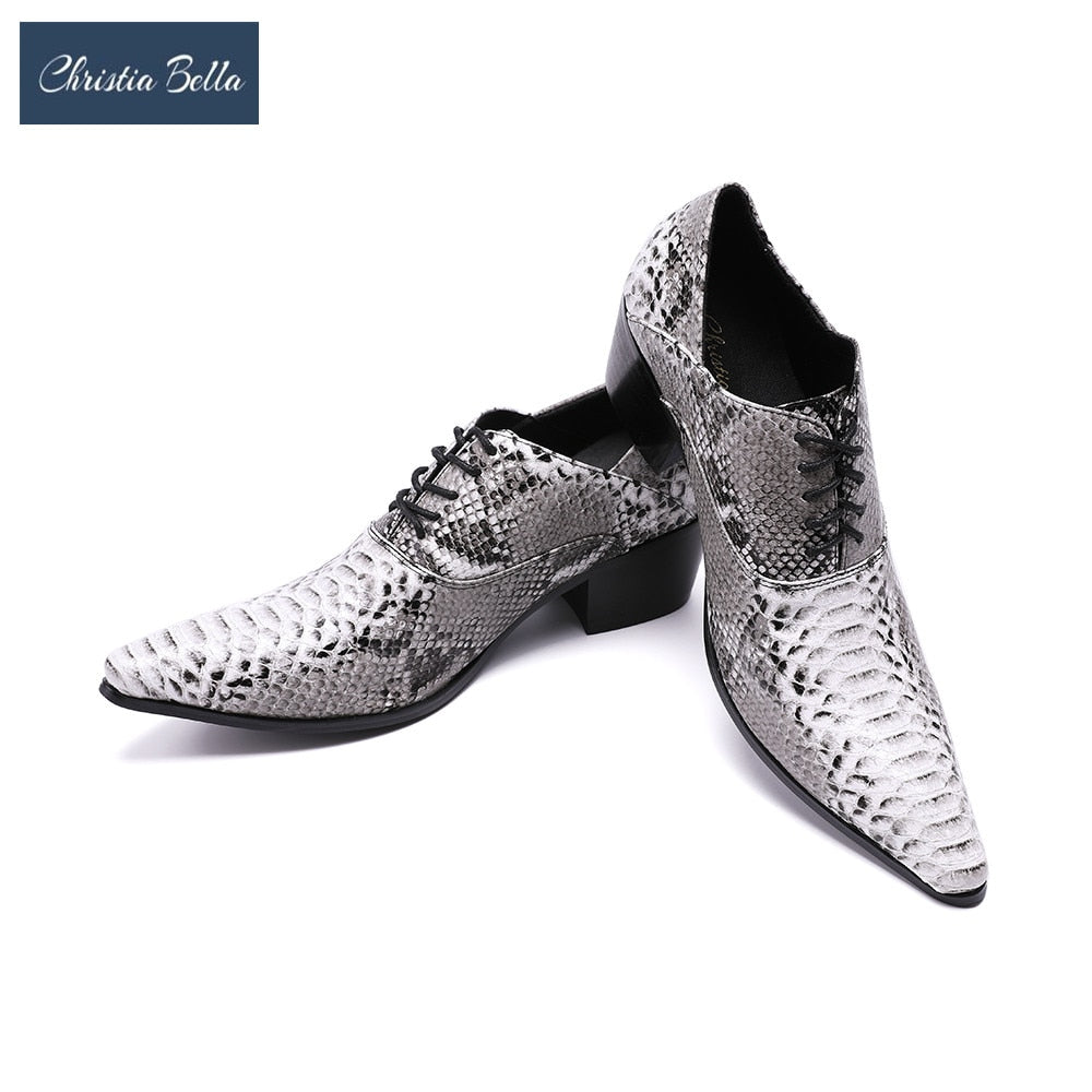 6b885b5748 Hover to zoom · Christia Bella Serpentine Printing Leather Men Oxfords Lace- Up Business High Heel Formal Shoes Wedding