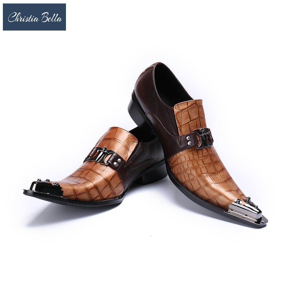 68e93ce859 Christia Bella Snakeskin Genuine Leather Handmade Fashion British Business  Suits Men's Shoes Gold Tip Toe Mens Party Dress Shoes