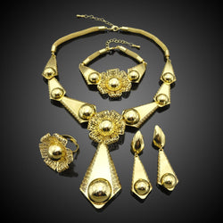 Christmas gift fashion dubai gold color plated jewelry sets graceful bridal jewelry set FHK2954