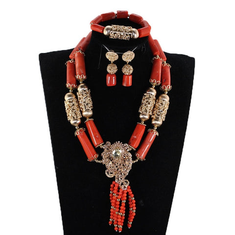 Chunky Original Coral Beads Nigerian Wedding African Jewelry Sets Gold Wedding Bold Necklace Set For Women CNR898