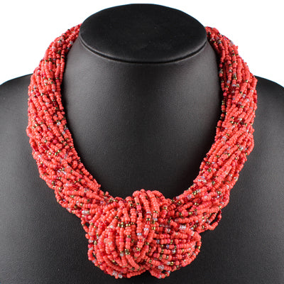 Claire Jin Small Beads Handmade Knot Women Fashion Multi Layer Necklaces Bohemian Jewelry Vintage Choker Necklace, 26 colors