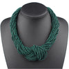 Image of Claire Jin Small Beads Handmade Knot Women Fashion Multi Layer Necklaces Bohemian Jewelry Vintage Choker Necklace, 26 colors