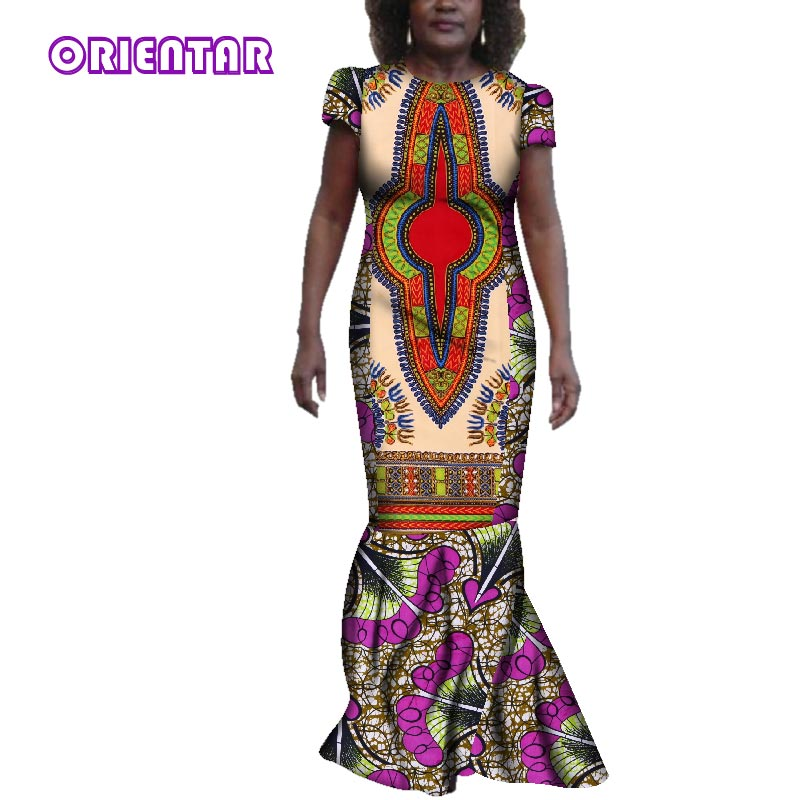 0f3453c989 Classic African Print Dresses Women Bazin Riche Short Sleeve Patchwork Long  Dress for Party Traditional African Clothing WY3425