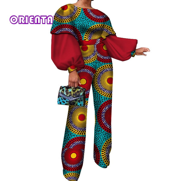 Classic Jumpsuit African Clothes for Women African Wax Print Puff Sleeve Jumpsuits Lady Bazin Riche Cotton Romper Pants WY3856