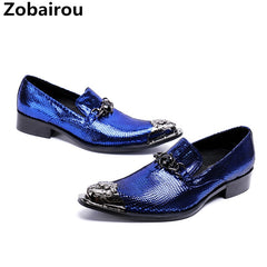 Classic Sapato social masculino blue spiked loafers oxford shoes for men  pointed steel toe dress wedding ... 4b13d1476852
