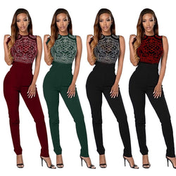 Classic style sequined romers women jumpsuit bodysuit women black jumpsuit sleeveless overalls for women XJ2106