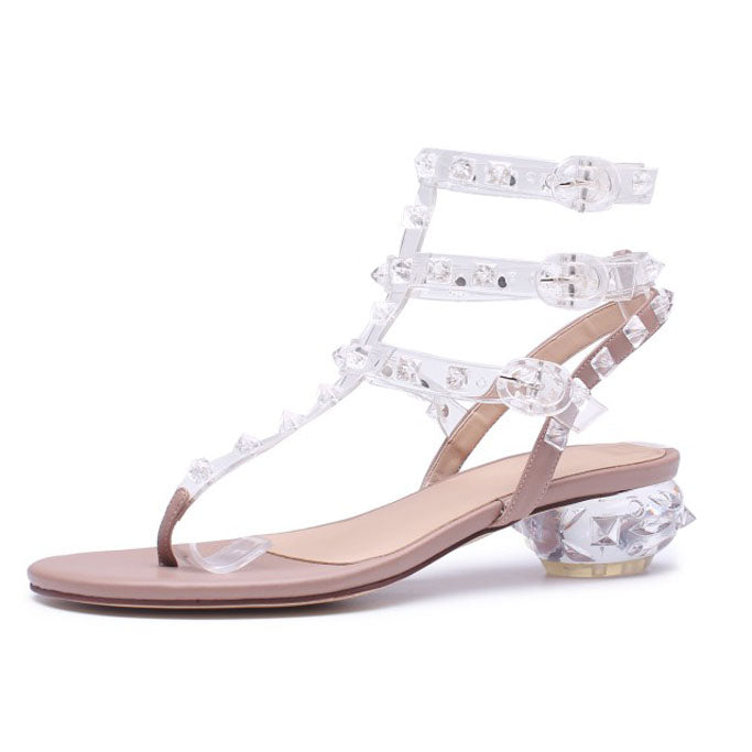 ... Clear PVC Jelly Sandals Crystal flip flops middle Heels Women  Transparent Sandals rivets studded 2018 newest 94a5e8e6fb17