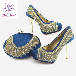 blue High Quality Italian Woman Shoes And Bag Set Fashion African High Heels Shoes And Bag Set For Party Dress