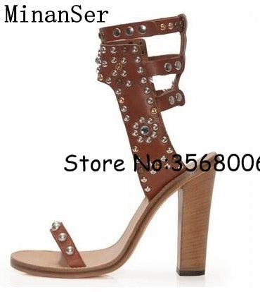 ff8862e7448 ... Clip-toe Studs Women Flats Ankle Wrap Sandals Rome Style High Quality  Lady Casual Sandals
