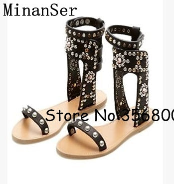 ee88f23e3cc ... Clip-toe Studs Women Flats Ankle Wrap Sandals Rome Style High Quality  Lady Casual Sandals ...