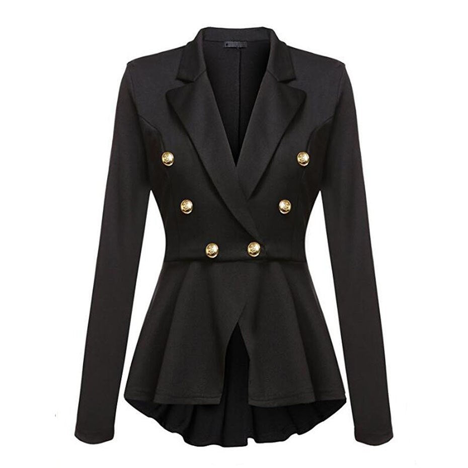 5fe30be0a576 ... Clocolor Autumn Jacket Coat Women Thin Notched Lapel Solid Black  Outwear Female Plain Office Ladies Tunic ...