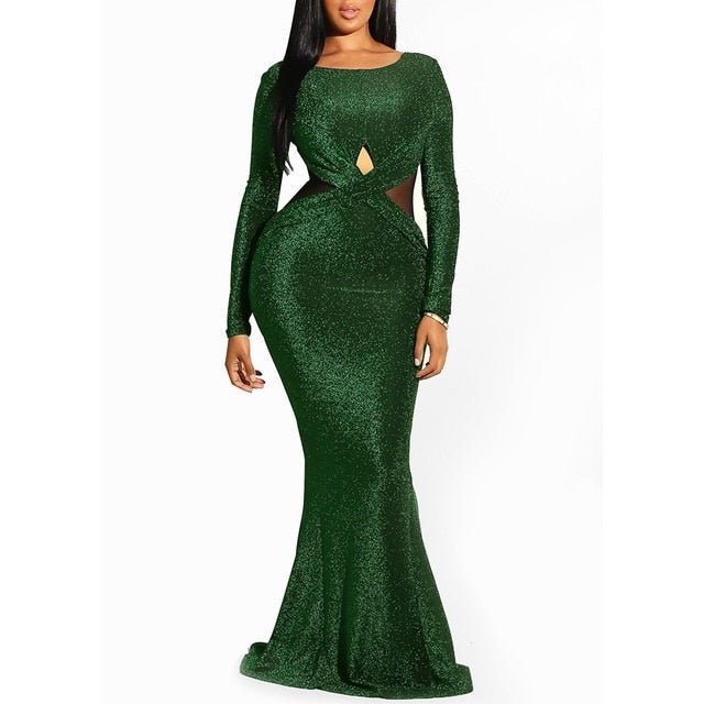 9d4dba5508e5e0 Clocolor Elegant Sequin Green Backless Ladies Sheer Evening Fashion ...