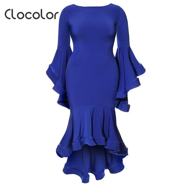 Clocolor Elegant Women Plus Size Party Dress Solid Royal Blue Autumn Ladies  Dress Ruffle Bodycon Mermaid Flare Long Sleeve Dress